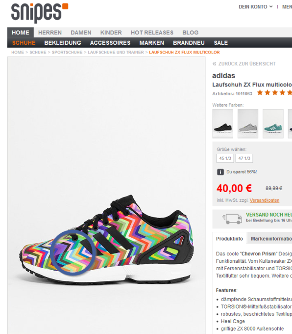 adidas Laufschuh ZX Flux multicolor _ SNIPES Onlineshop